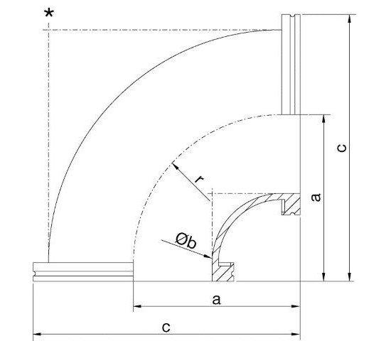 ISO-K-pipe elbow SST 316L DN 160 a=233 / Øb=150 / c=323 / r=225