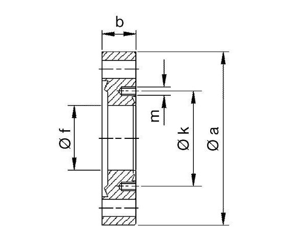 Bild 2 - CF-reducing flange DN 63/16 Øa=113,5 / b=17,5 / Øf=16 / Øk=27 / M4