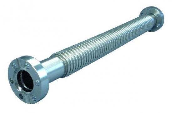 Bild 1 - CF-metal tube, extremely flexible 1 flange turnable 304L, 500 mm long DN 16 Ød1=16,2 / Øda=22 / h=35